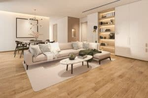 3d rendering wood classic living room with marble tile bookshelf
