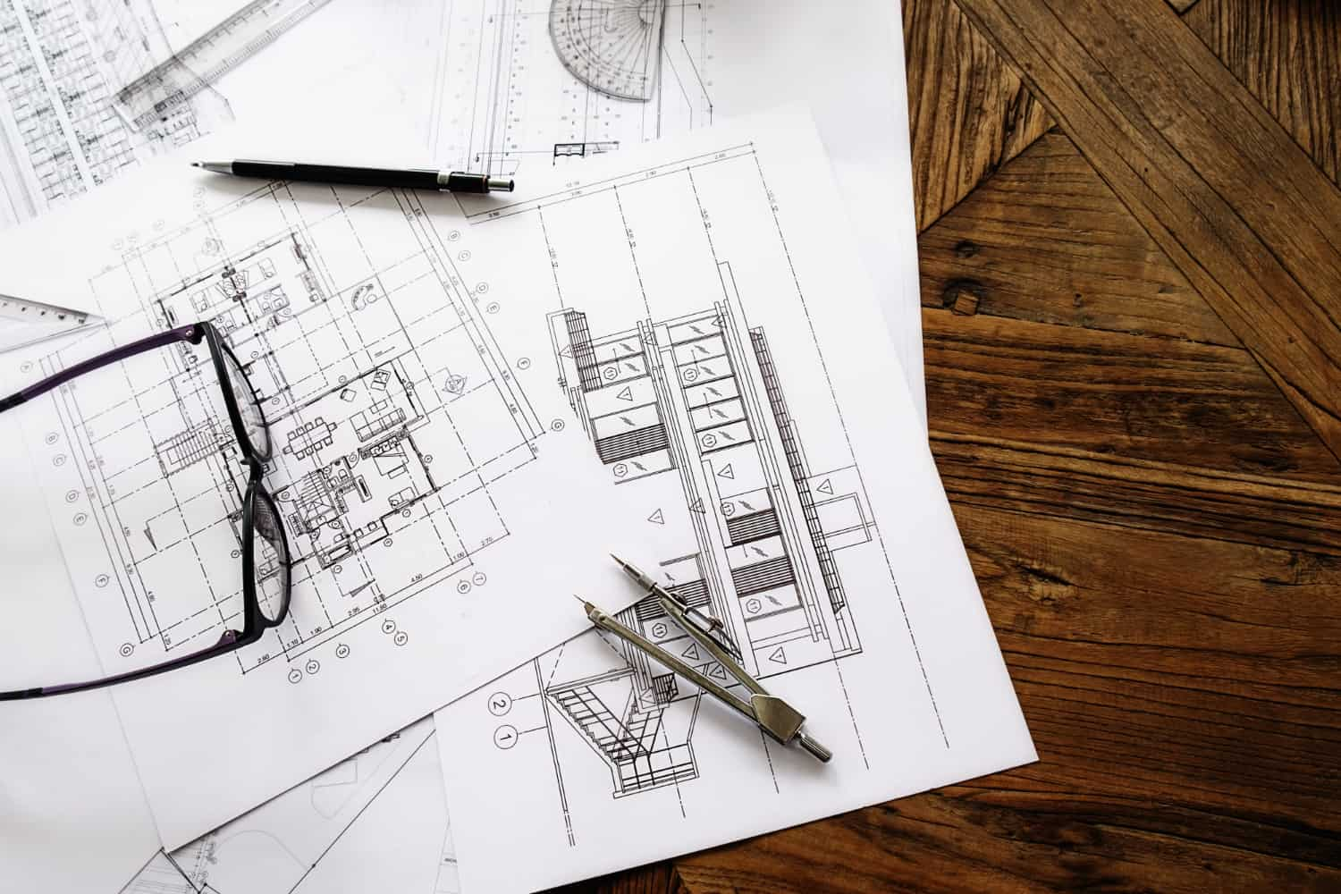 image engineering objects workplace top view construction concept engineering tools vintage tone retro filter effect soft focus selective focus