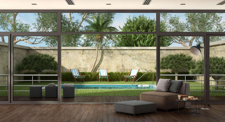living room villa with pool garden